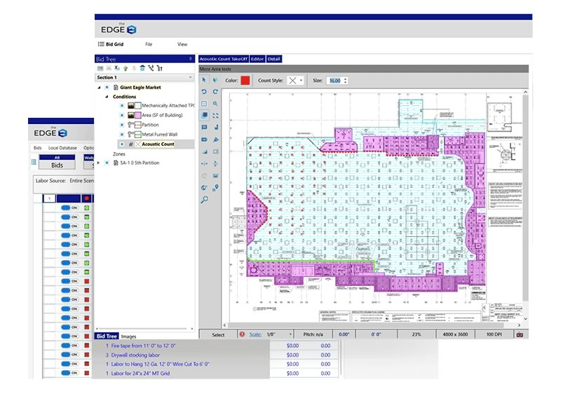 edge roofing software screen layout